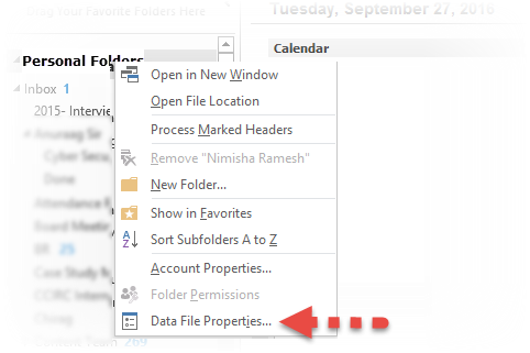 Outlook Data File Properties