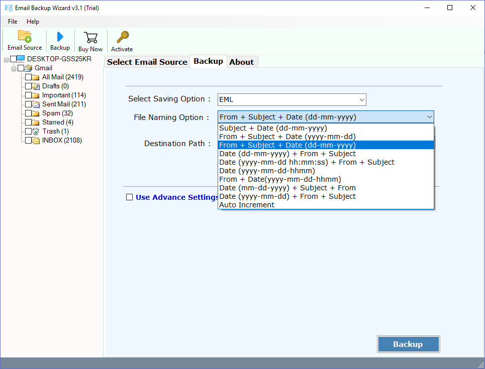 Turgs Rediffmail Backup Tool