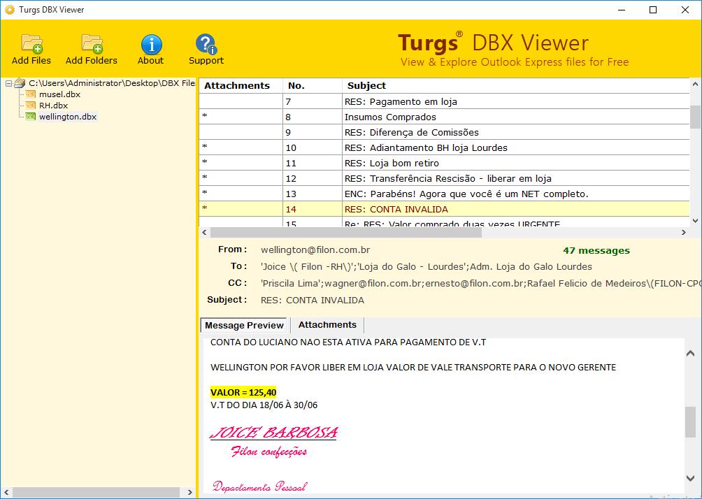 DBX Viewer screenshot