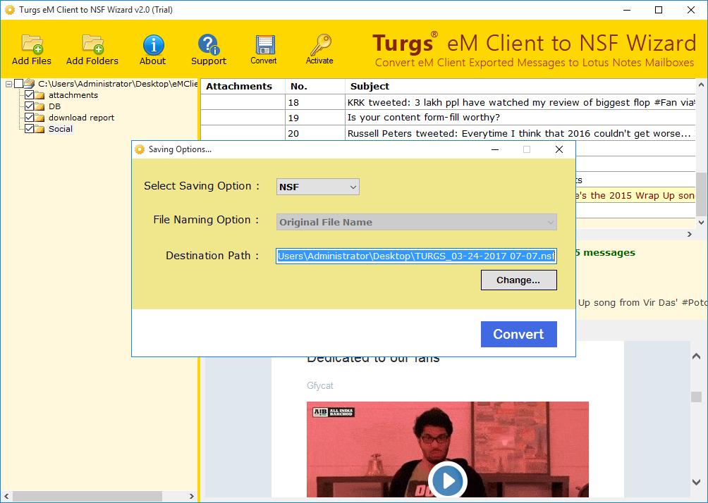 eM Client to NSF Wizard screenshot