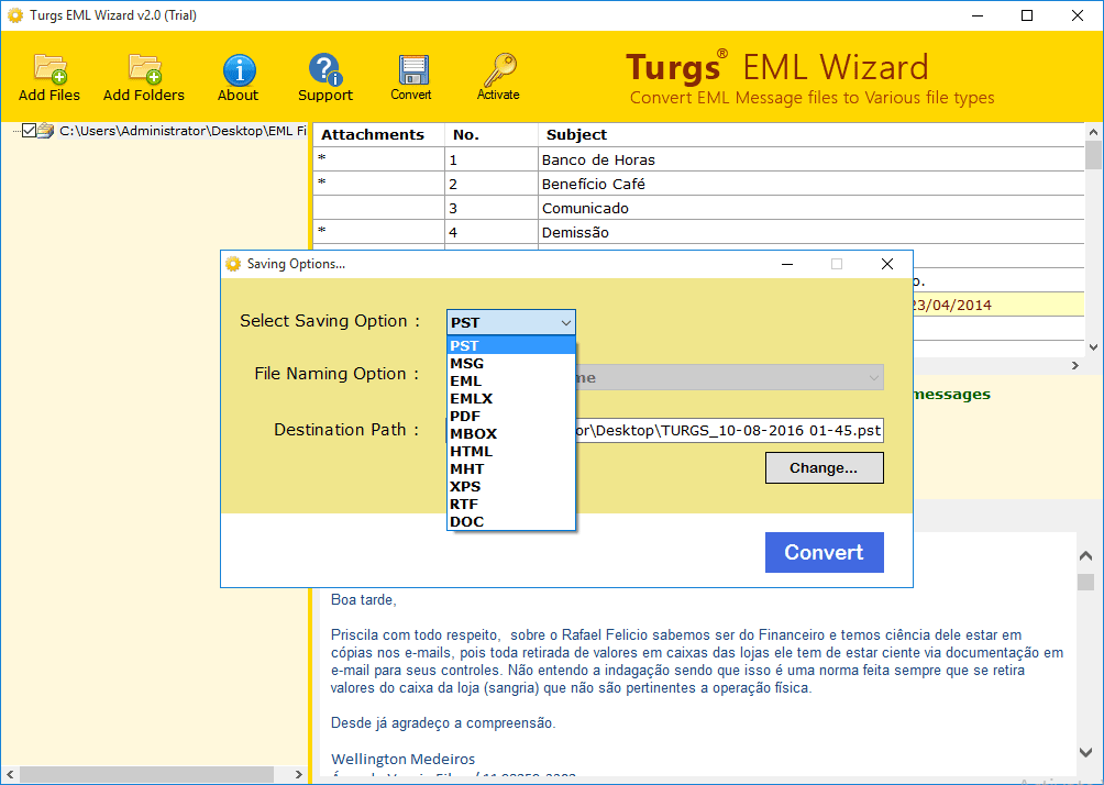 Turgs EML Wizard Screen shot
