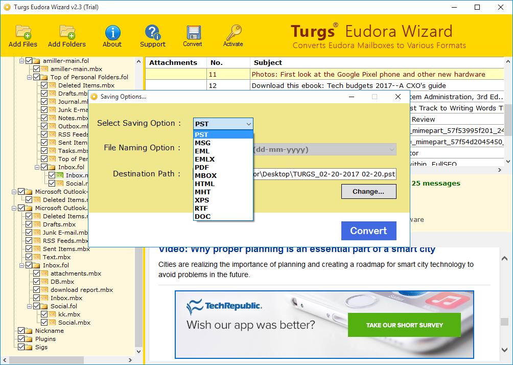Eudora Wizard screenshot
