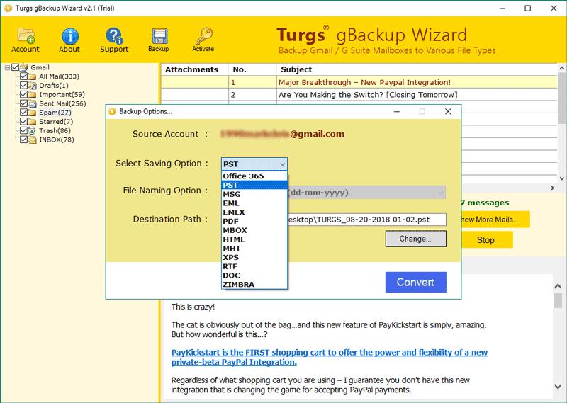 Gmail Backup screenshot