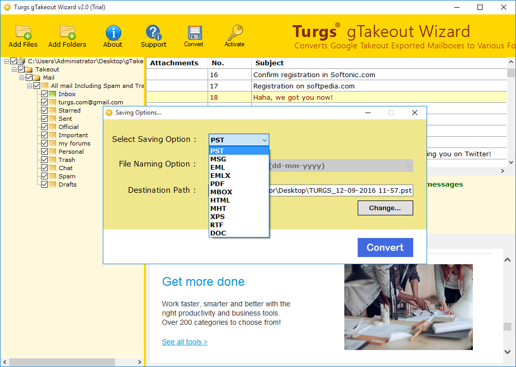Google Takeout Data Converter screenshot
