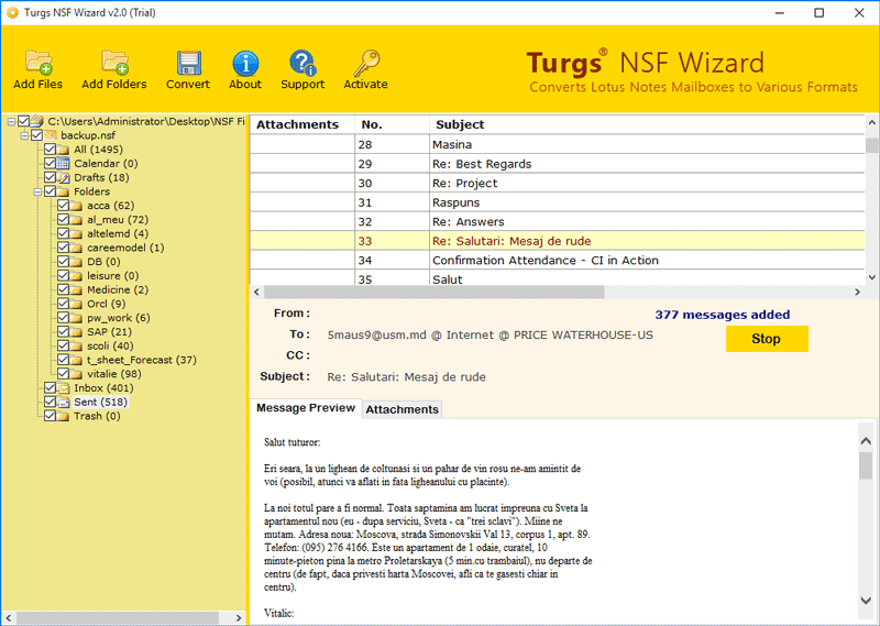 Turgs Lotus Notes Converter
