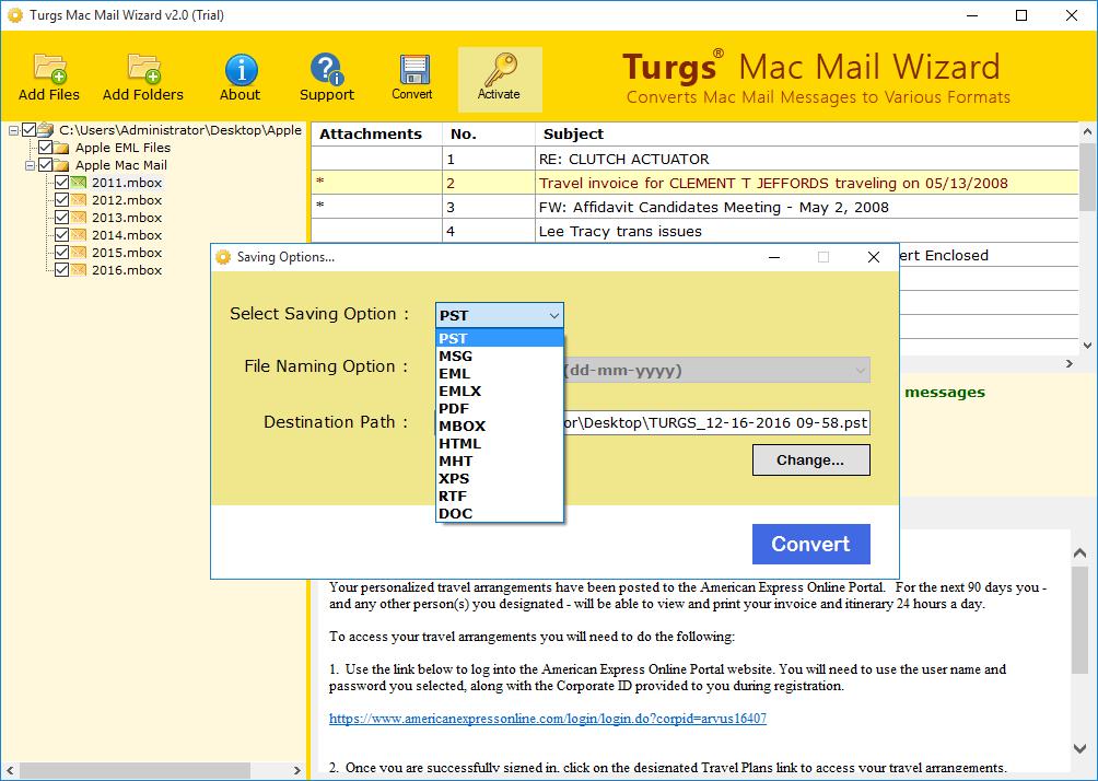 Mac Mail File Converter screenshot