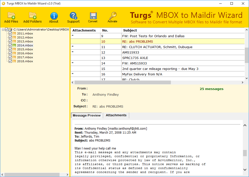 Check Preview of Loaded MBOX Files