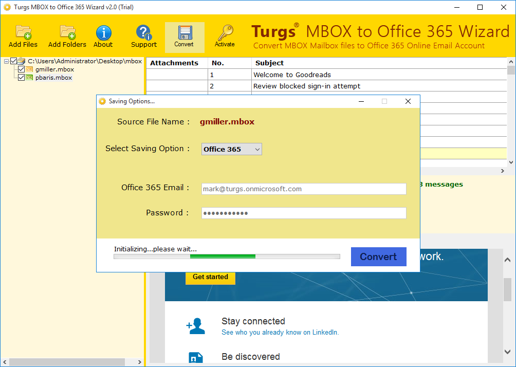 MBOX to Office365 Conversion