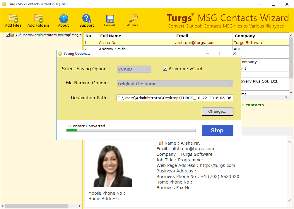Convert MSG Contacts on Desired Location