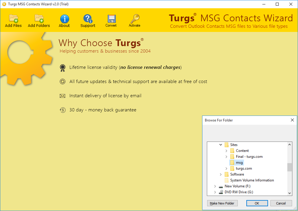 Launch Tool and Select MSG Contacts