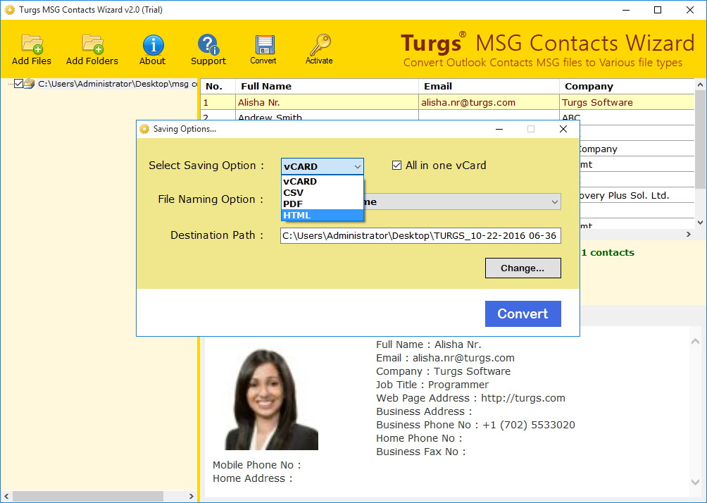 Select File Format to Save MSG Contacts