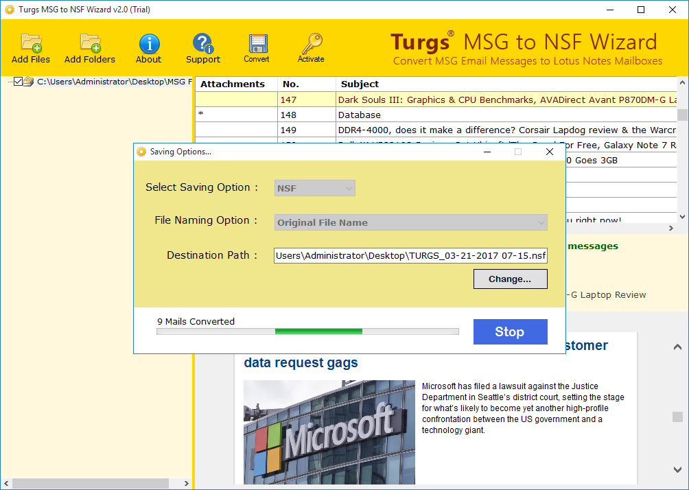 Select Destination and Convert MSG to NSF Format