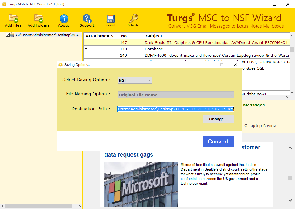 MSG File Preview and Saving Option