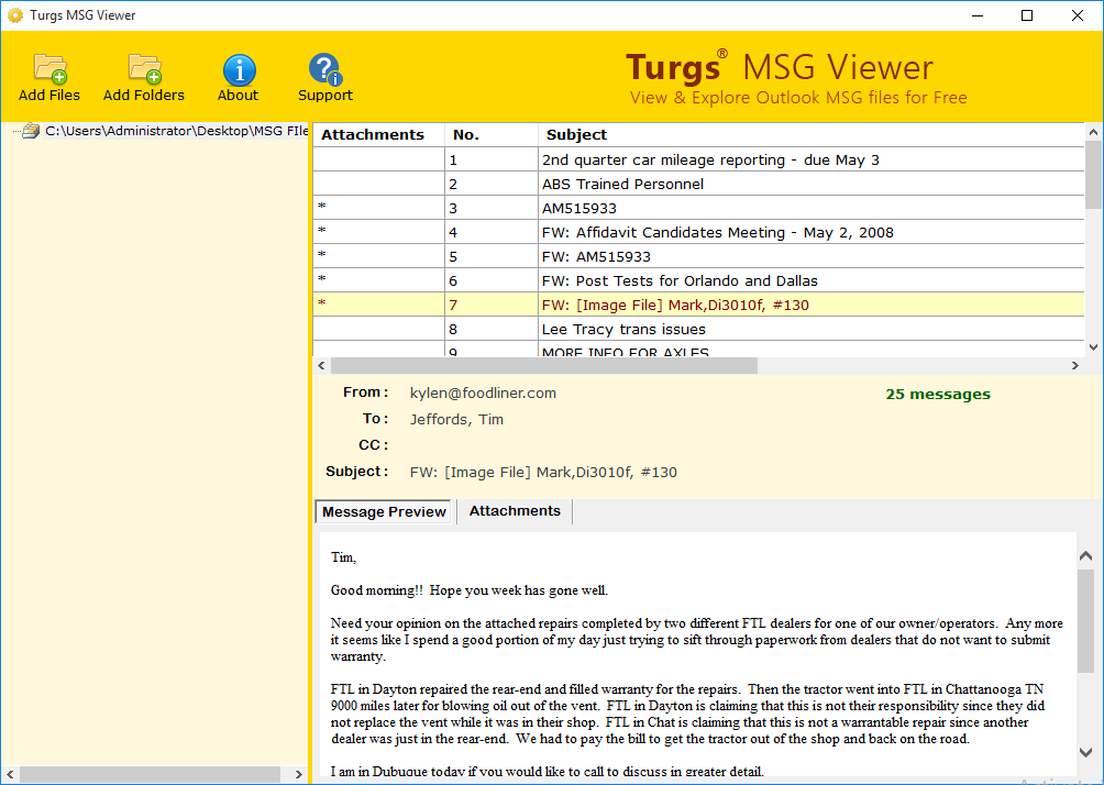 View Content of MSG by Clicking on Items