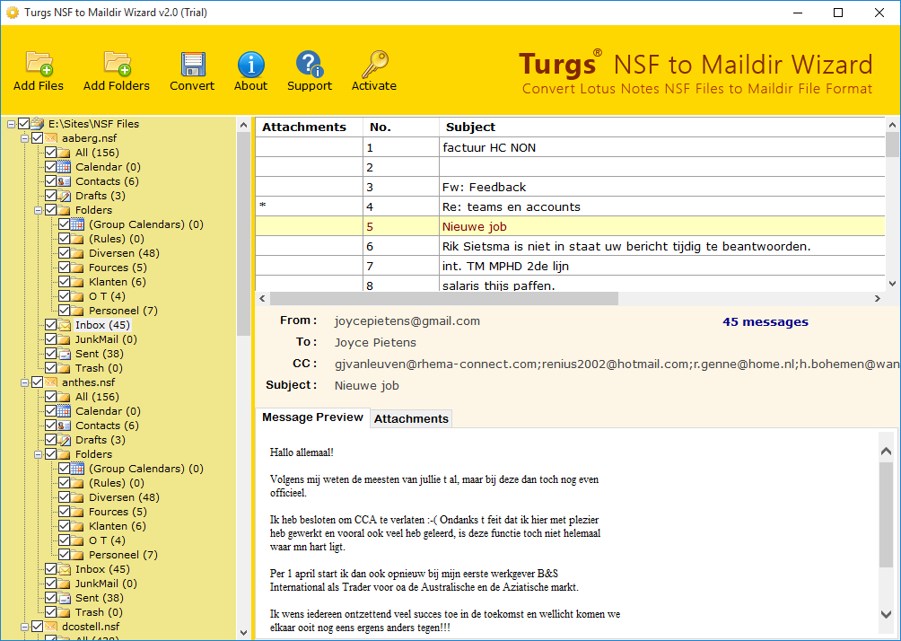 Lotus Notes NSF Preview Option