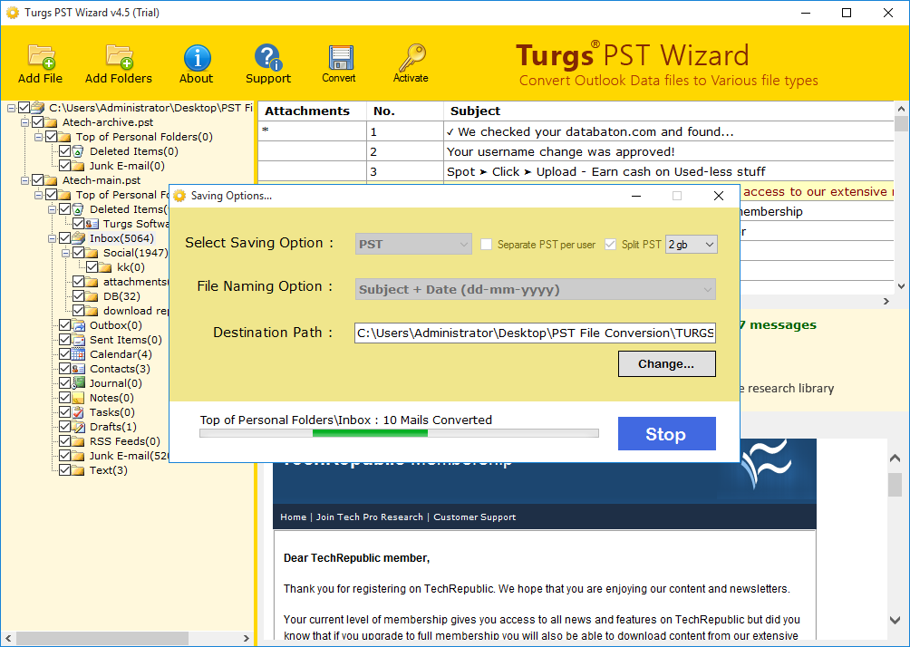 Turgs PST File Converter