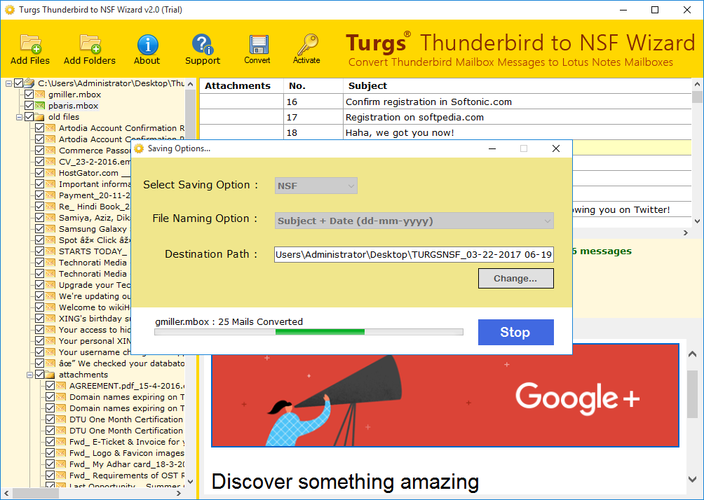 Choose Destination and Convert Thunderbird to NSF