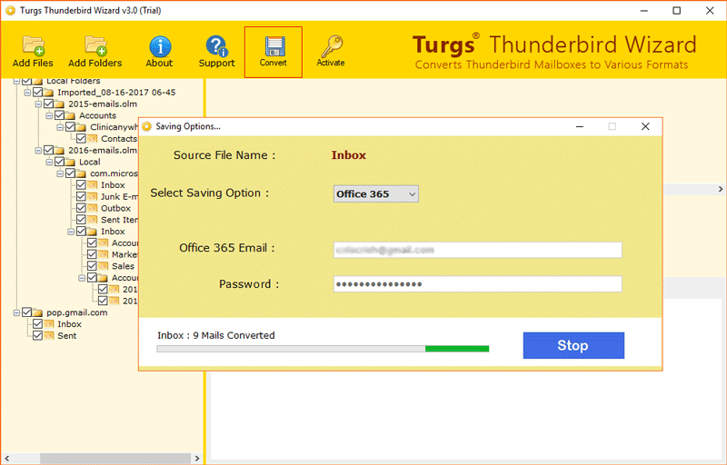 Turgs Thunderbird to Office 365 Wizard