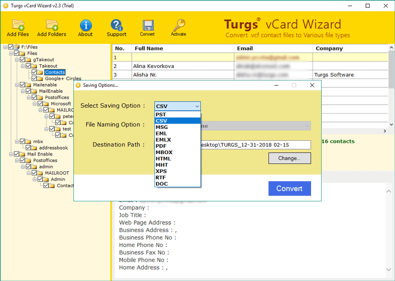 vCard Wizard screenshot