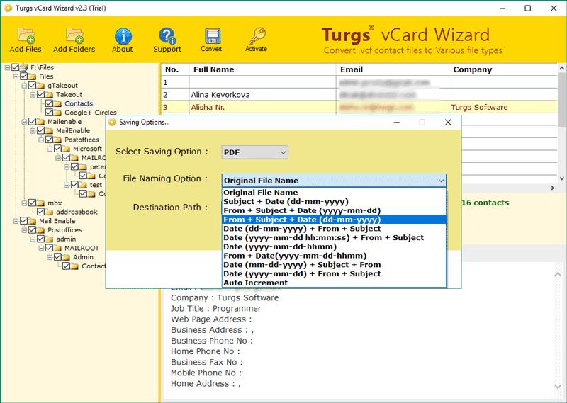 Turgs vCard File Converter