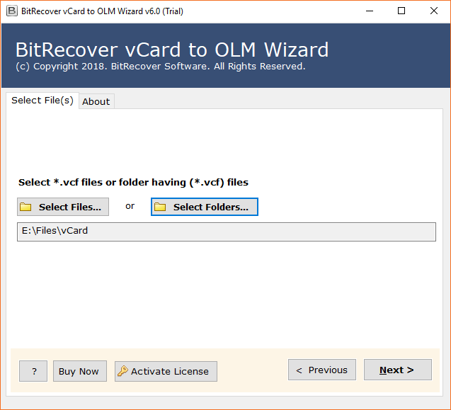 Convert vCard to OLM – Export/Import vCard (* VCF) to OLM