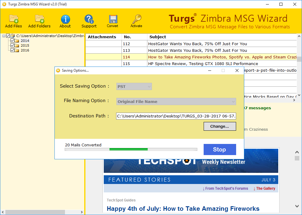 Turgs Zimbra to MSG Wizard